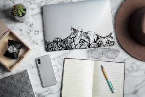 Sticker für Laptop Tiere Katzen